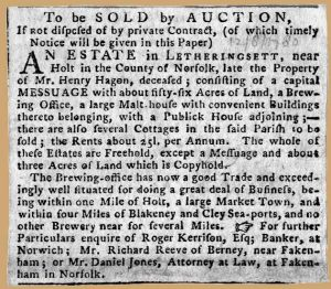 Sale of Hagon's brewery 1780